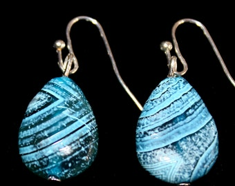 Blue tear drop earrings