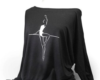 "Dolman Long Sleeve Dance Top ""Passé To Retiré"" - Black. Flowy dance top for rehearsal or class.  This is a soft and flowy top."