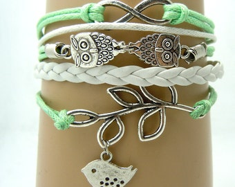 Mint Green Leather Infinity bracelet, Handmade Leaf Bracelet ,Friendship Owl Leather Bracelet