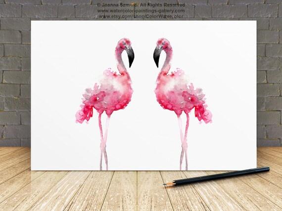 flamingo pink home decor two flamingos watercolor print pink flamingo home decor crochet flamingo decor by socroch
