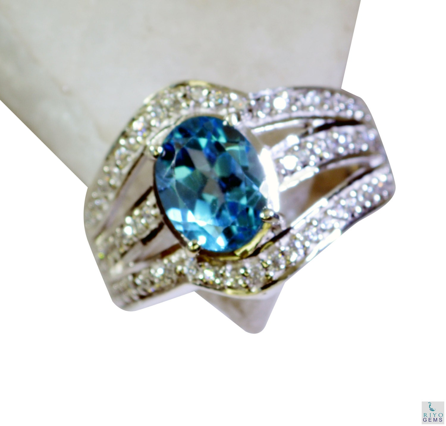 blue topaz overstock silver jewelry guard ring sz 7 by