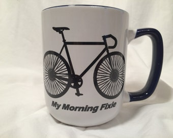 Funny bike mug, Fixie bicycle, cyclist morning Fixie blue and white