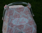 Personalized Baby Girls Carseat Canopy or cover Embroidered, Appliqued, Monogrammed