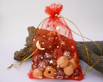 10 Organza Bags 3.5x4.5, Red Organza Bag,Gift Bag, Drawstring Bag,Sheer Organza,Favor Bag,Supplies,Sheer Bag,Organza,Moon & Star Organza Bag