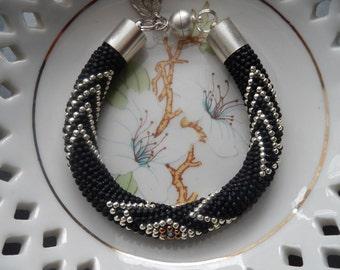 Bead crochet bracelet silver beaded crochet