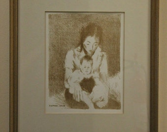 Mother & Child Sepia Lithograph by Raphael Soyer 1899-1987