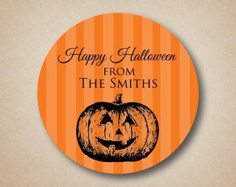 Happy Halloween Striped Sticker Label Classic Carved Pumpkin Halloween Treat Bag Stickers