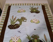 Frog baby blanket with blue minky . Cute and cuddly