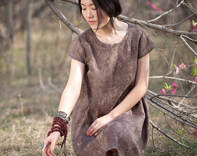 Women short A-line dress - Short Sleeve Dress - Round Neck - Abstract patterns - Summer dress - Linen dress - Made to order
