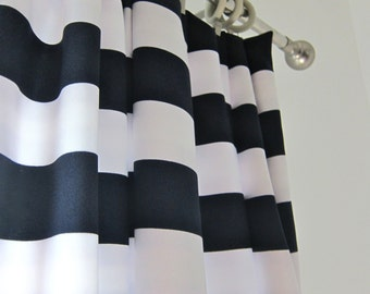 Curtains Ideas black and white striped curtains horizontal : Navy & White Striped Curtains – Curtain Idea