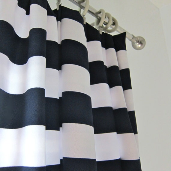1 Panel Of Navy Striped Drapery Curtain 50x83 By Worldofwillows