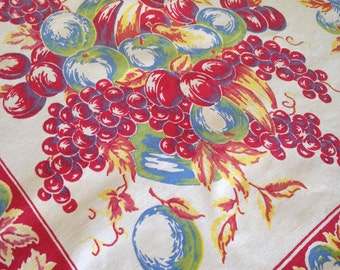 Bountiful Fruit – Striking Vintage 1950s Cotton Tablecloth – Grapes, Bananas, Plums, Peaches, Pears, and Green Apples With Red Border