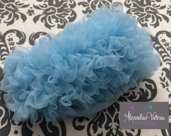 BABY BLUE BLOOMER, chiffon ruffle diaper cover, photo prop, newborn ruffle bloomer-ready to ship!
