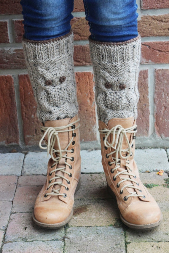 Knitting Pattern For Chunky Leg Warmers : MADE to ORDER. Knit chunky oatmeal leg warmers with an owl