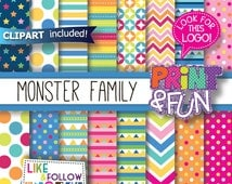 Monster Digital Paper, clip art, characters, Background, Patterns for Party Printables, bottle labels, favor boxes