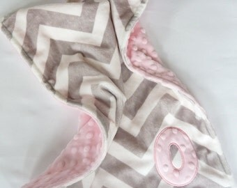 Personalized Baby Girl Blanket  or lovey - Custom Made - Silver (light gray) Chevron front you Choose back Minky Color -  Gray, Pink