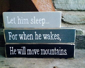 Let Him Sleep | Hand Painted | Stacking blocks | Nursery | Gray | Black | Rustic decor | Farmhouse Nursey