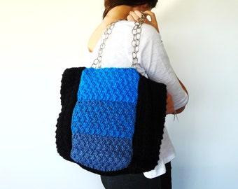 Big black bag. Shoulder tote bag. Large knitted bag. Gift idea for her