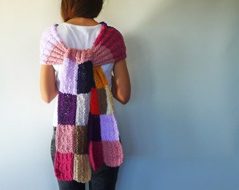 Patchwork bufanda original. Bufanda de punto multicolor. Bufanda de lana hecha a mano. Bufandas tejidas. Ideas para regalar para ella