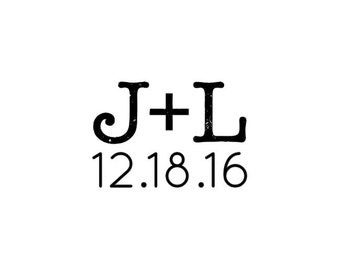"Custom Initials & Date Stamp, couples initials stamp, wedding favours stamp, card stamp, invitation stamp, tag stamp, 1""x0.8"" (cts46)"