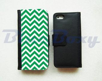 Green Chevron Wallet Case for iPhone X, iPhone 8/8 Plus, iPhone 7/ 7 Plus, iPhone 6/6s, iPhone 6 Plus, iPhone 5/5s, iPhone 4/4s, Flip Case