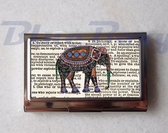 Elephant on Dictionary - Card Holder, Business Card Case, Credit Card Case