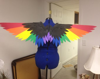 Realistic Black and Rainbow Bird Cosplay Wings