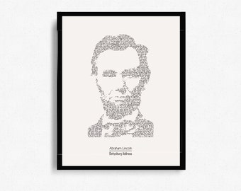 "Abraham Lincoln ""Gettysburg Address"" Typographic Print Design - Digital Print - Poster Print - Wall Art - Minimalist Art - Graphic Design"