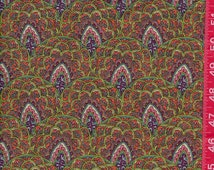 """Neon Peach Pink Green Paisley Floral Geometric 100% Cotton Sewing Quilting Fabric Fat Quarter 18"""" x 22"""" or  Half Yard 18"""" x 44"""""""