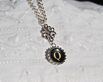 Typewriter Key Initial Necklace, Personalized with a Letter Q Initial. Art Deco Steampunk Style. Eco Friendly Gift.