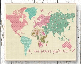 World map Poster art Oh, the Places you'll Go! Dr Seuss girl room decor playroom art Kids art Home Decor pink turquoise blue artwork print