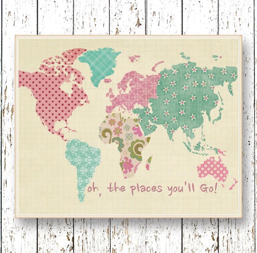 Pink world map – Map World Poster Kids