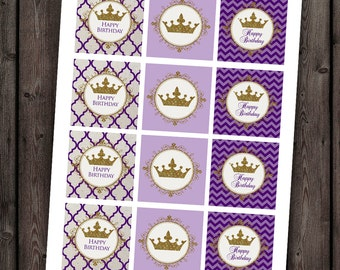 Princess cupcake toppers, royal crown toppers, purple and gold, instant download at purchase