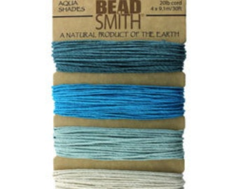 Hemp Cord Aqua Shades Assortment Card 1.0mm 20lb Test (CD6265)