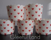 Baking Cup - 50 Heart <White+Red Heart> *Cupcake Wrappers*Muffin Cup*Weddings*Baby Showers*Bridal Shower*Birthday*Party*