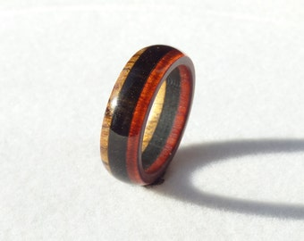 Red heart   ebony  and pernambuco  wood ring