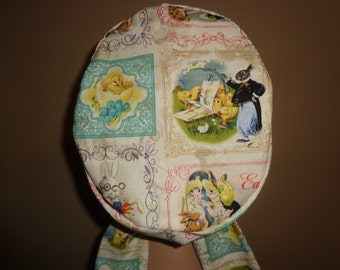 Woman's Hair wrap , Scrub Cap , Easter , bunny , eggs , chick