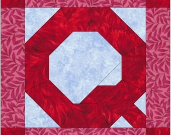 Letter Q Paper Piece Foundation Quilting Block Pattern