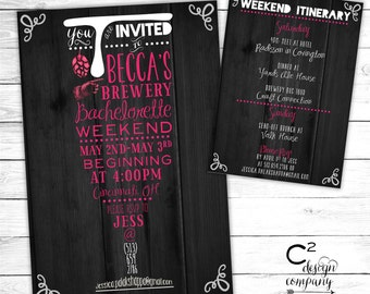 Brewery Bachelorette Weekend Invitation with Itinerary