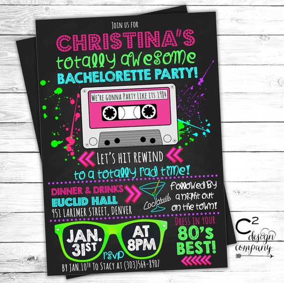 Totally Awesome Neon 80's Bachelorette Invitation