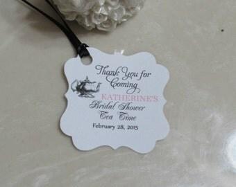 "Personalized Wedding or Bridal Shower Tea  Favor Tags 2x2"" Wedding tags, Thank You tags, Favor tags, Bridal Shower Favor Tags"