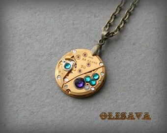 Gold Watch movement  Steampunk   Pendant ,  Steampunk Jewelry , Steampunk Jewelry
