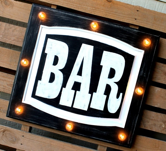 Lighted Kitchen Signs: Bar Marquee Sign Light Up Kitchen Bar By RockingDoubleDLLC