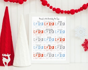 "Personalised Retro Playlist Cassette 8x10"" Print - Mix Tape Print - Perfect Birthday, Wedding, Anniversary, or Valentines Day Wall Art Print"
