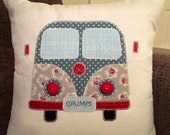 Patchwork personalised appliqued  Red/green Campervan cushion
