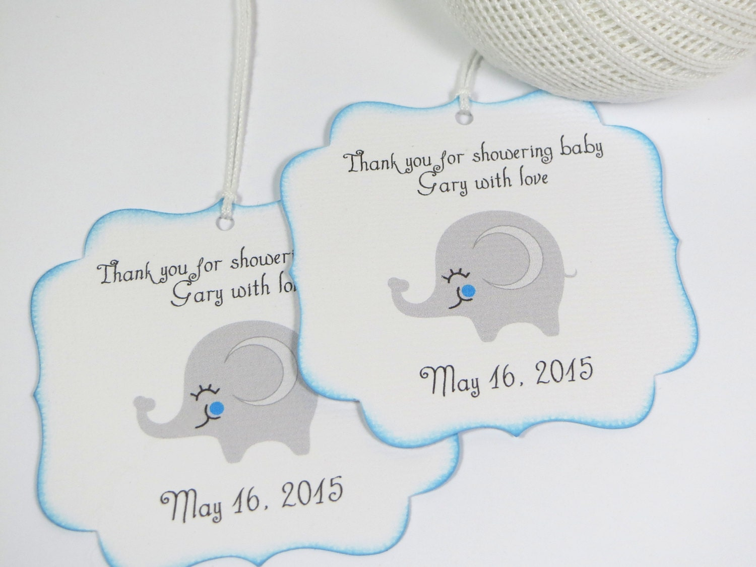 elephant baby shower favor tags boy baby by wildsugarberries