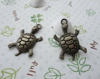 50pcs 36mmx22mm Tortoise Antique Bronze Retro Pendant Charm For Jewelry Pendant