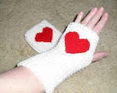 White Fingerless Mitts with Red Woven Heart Embellishment, Winter Accessories, Christmas, Stocking Stuffer, Valentine Day, Love