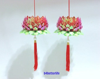 A Pair Of Red Color Medium Size Origami Hanging Lotus. (AV paper series).