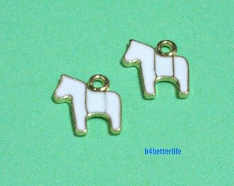 """6pcs """"White Horse"""" Gold Color Plated Enameled Metal Charms. #HY2947."""